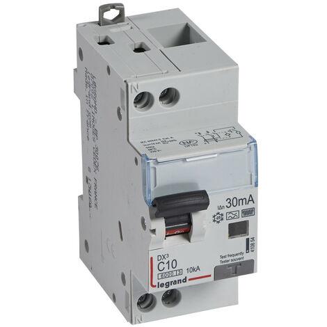 Disjoncteur différentiel monobloc DX6000 10kA arrivée haute et départ bas à vis U+N 230V~ 10A typeF 30mA (410854)