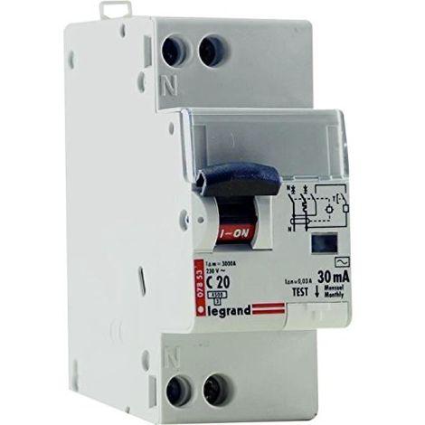Disjoncteur différentiel Phase + Neutre - type AC - 30mA - 20A - 2 modules