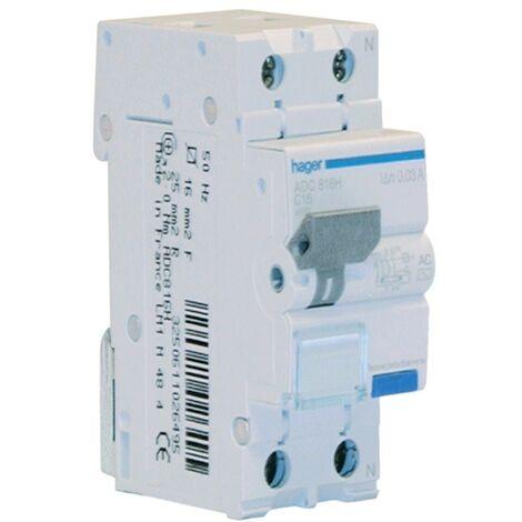 Disjoncteur Disjoncteur Hager 1P+N 16A 30MA ADC816H