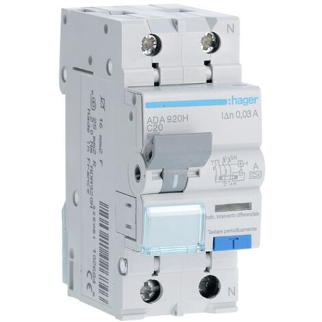 Disjoncteur Disjoncteur Hager 1P+N 20A 30MA ADA920H