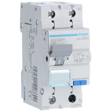 Disjoncteur Disjoncteur Hager 1P+N 20A 30MA ADC920H