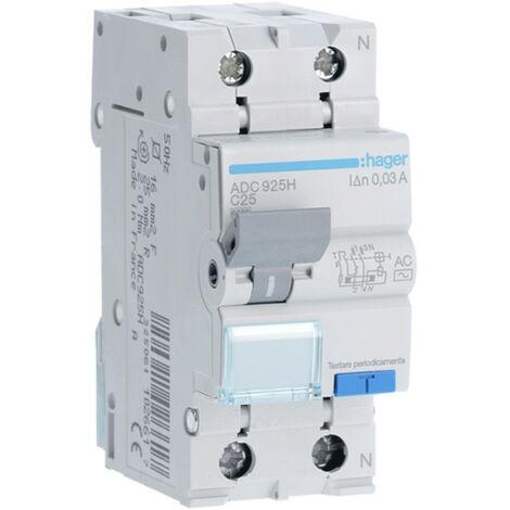 Disjoncteur Disjoncteur Hager 1P+N 25A 30MA ADC925H