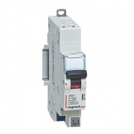 Disjoncteur DNX courbe C auto - Disjoncteur DNX3 4500 - auto/auto - U+N 230V~ 20A - 4,5kA - courbe C - 1 mod (406784)