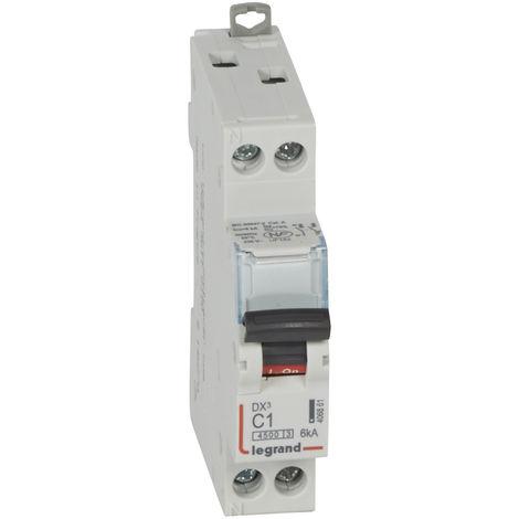 Disjoncteur DX³ 4500 - vis/vis - U+N 230V~ 1A - 6kA - courbe C - 1 mod