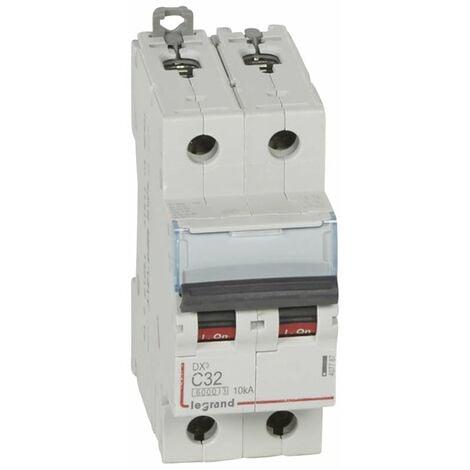 """main image of """"Disjoncteur DX³6000 10kA arrivée haute et départ bas à vis 2P 230V~ à 400V~ - 32A - courbe C - 2 modules - 407787 - LEGRAND"""""""