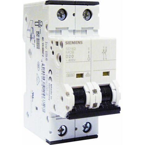 Disjoncteur électrique bipolaire 20 A courbe D pour climatisation. pompe à chaleur et pompe de relevage - SIEMENS