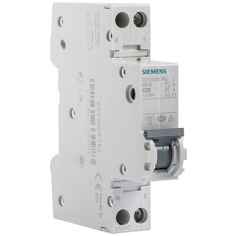 Disjoncteur électrique phase + neutre 20A - SIEMENS