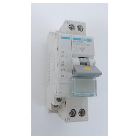 Disjoncteur fil pilote 16A 1P+N courbe C 3kA 1.5 Module bornes à vis HAGER MFN916