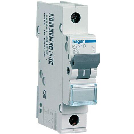 Disjoncteur Hager 1P 10A 4.5 KA C 1 formulaire MYN110