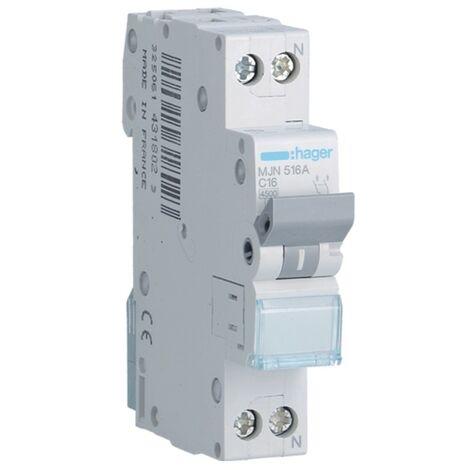 Disjoncteur Hager 1P+N 16A 4.5 KA C 1 formulaire MJN516A