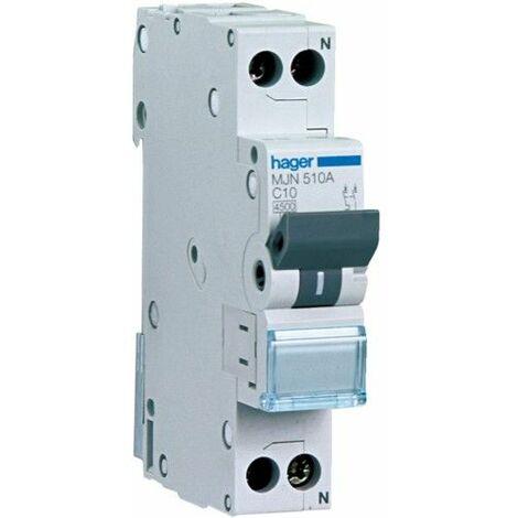Disjoncteur Hager 1P+N 6A 4,5 KA C 1 formulaire MJN506A
