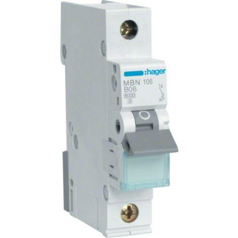 Disjoncteur Hager MBN106 MBN106 monophasé 6 A 230 V, 400 V 1 pc(s)