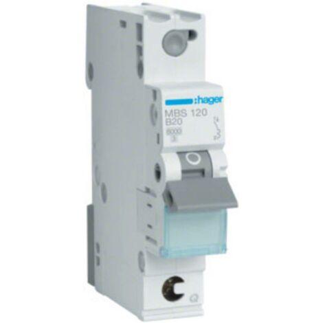 Disjoncteur Hager MBS120 MBS120 monophasé 20 A 230 V, 400 V 1 pc(s)