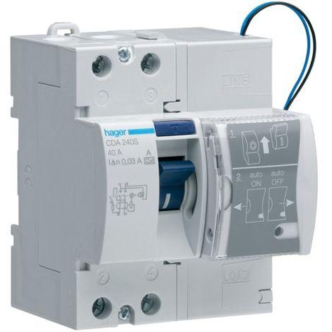 Disjoncteur Hager réarmement automatique 2P 40A 30MA UN CDA240S