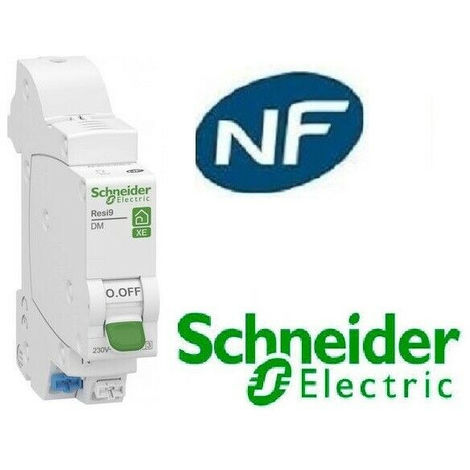 Disjoncteur 1p + n 10A - courbe C - Embrochable resi9 xe Schneider R9EFC610