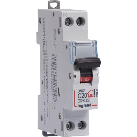 Disjoncteur Phase + Neutre 20A bornes à vis 1 module