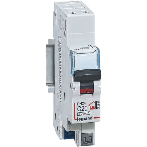 Disjoncteur Phase + Neutre - 20A - bornes automatiques - 1 module