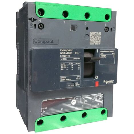 Disjoncteur Schneider boîtier moulé circuit 160A NSXM 16KA 4P LV426119