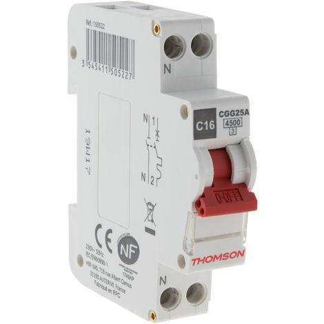 Disjoncteur à vis PH+N - 16A NF - Pouvoir de coupure 4.5KA - Thomson