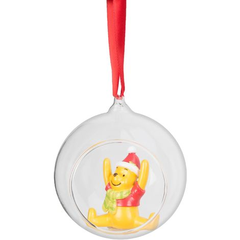 Disney Hanging Christmas Tree Round Glass Bauble Decoration - Pooh -18cm
