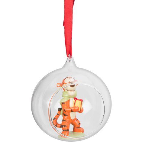 Disney Hanging Christmas Tree Round Glass Bauble Decoration - Tigger - 18cm
