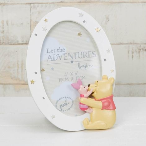 "Disney Magical Beginnings Oval 3D Photo Frame Winnie The Pooh & Piglet- 4"" x 6"""