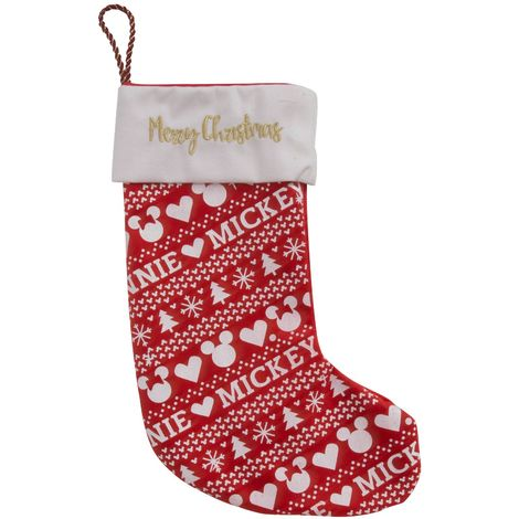 Disney Mickey & Minnie 35cm Christmas Red/ White Stocking