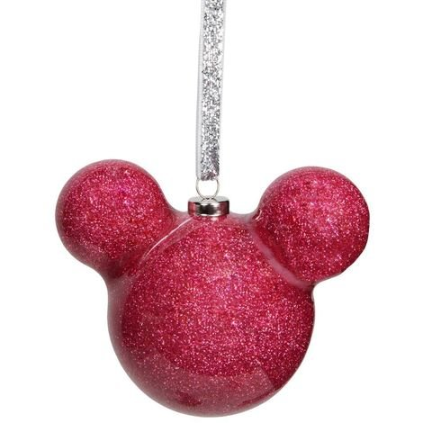 Disney Mickey Mouse Pink Glitter Bauble Christmas Decoration 6cm