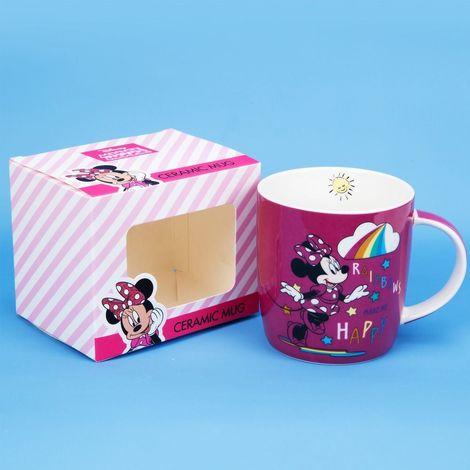 Disney Minnie Mouse Pink Rainbow Bone China Ceramic Mug