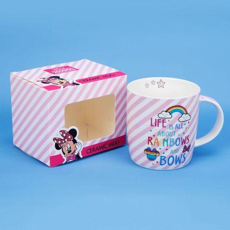 Disney Minnie Mouse Pink Stripe Rainbow Bone China Ceramic Mug