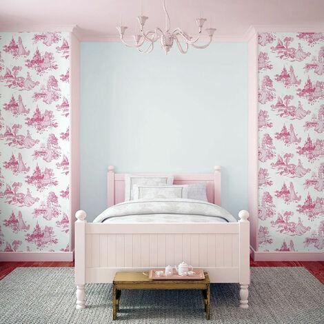Disney Princess Girls Toile Print Pink Wallpaper Bedroom - 70-233