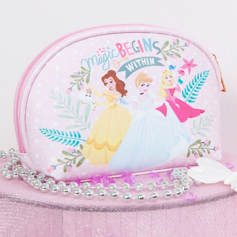 Disney True Princess Pink Cosmetic Bag - Cindrella, Belle & Rapunzel