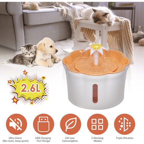 Dispensador automatico de agua para mascotas, 2.6 litros, amarillo, sin cojines