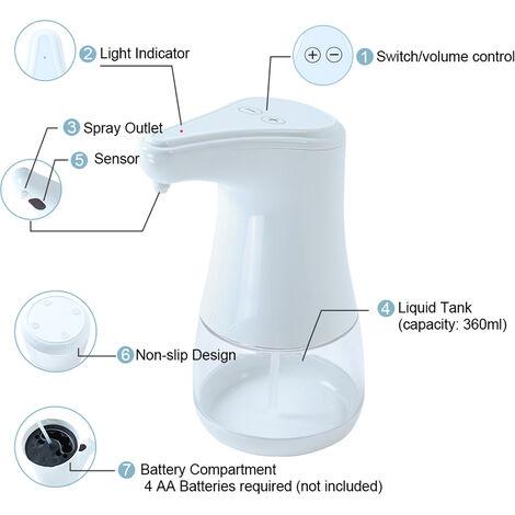 Dispensador automatico de jabon liquido, sensor de movimiento infrarrojo, blanco