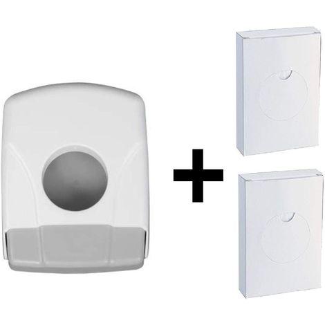 Dispensador de bolsas higiénicas ABS Blanco + 2 cajas de bolsas de 25 Ud.