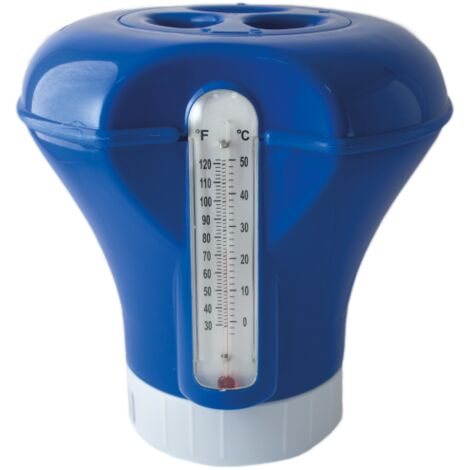 Dispensador de Cloro Flotante con termometro, Ajustable, Mediano para Piscina. Capacidad para Pastillas de 200 g