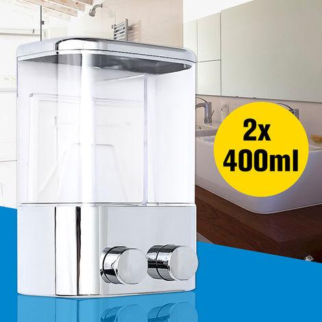 Dispensador de gel de ducha con champu y jabon de doble pared, 2x400 ml