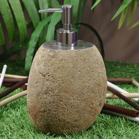 Dispensador de jabón de piedra de río