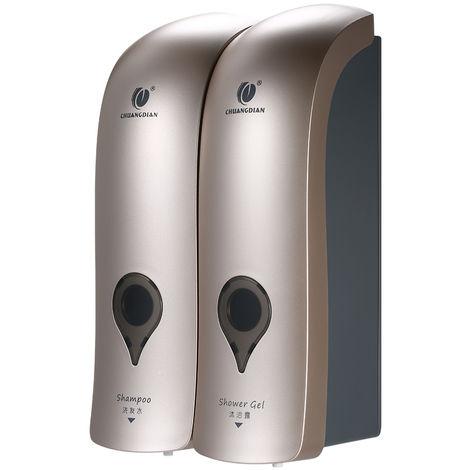 Dispensador de jabon manual de doble cabezal, 300 ml * 2, gris(no se puede enviar a Baleares)