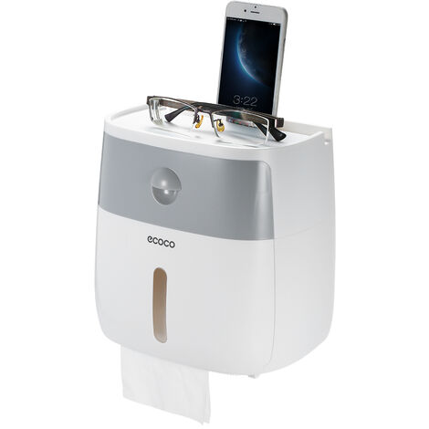 Dispensador de papel higienico para bano, con cajon,Blanco + gris