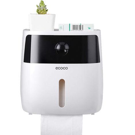 Dispensador de papel higienico para bano, con cajon,Blanco + negro