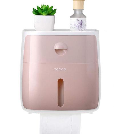 Dispensador de papel higienico para bano, con cajon,Blanco + rosa