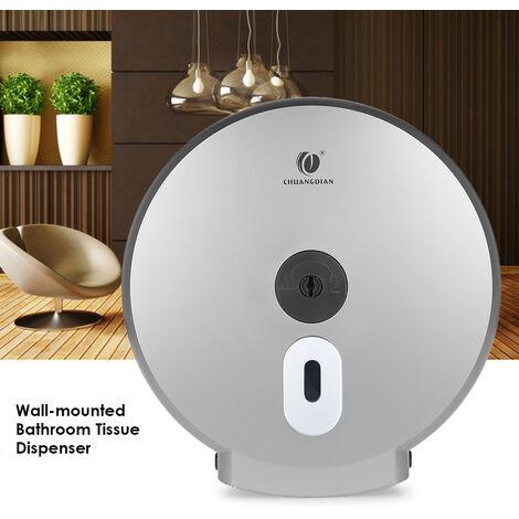 Dispensador de papel higienico, para rollo de toallas de papel grande, plateado