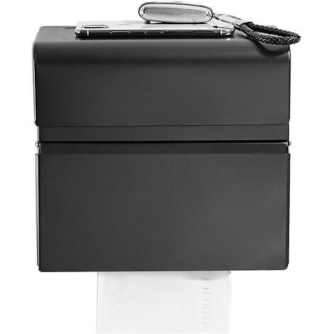 Dispensador de toallas de papel de dos compartimentos tampones tejido titular dispensador montado en la pared perforacion a prueba de agua, papel de bano WC dispensador, Negro