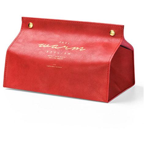 Dispensador de Toallas de Papel, Porta Toallas de Papel, Cuero de PU, Rojo