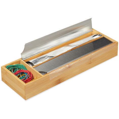 Dispensador Film para Cajón, Expendedor Papel Aluminio, Bambú-Acero Inoxidable, 5,5x39,5x13cm, Marrón Natural