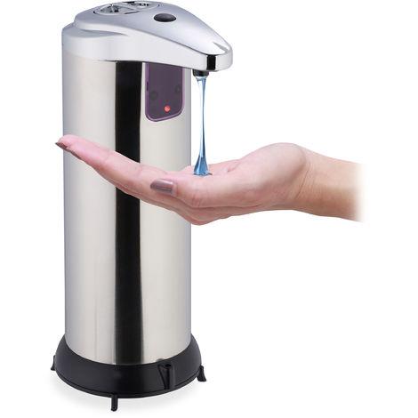 Dispensador Jabón Automático, Con Sensor, Dosificador Gel, Sin Tocar, 250 ml, Acero Inoxidable, Plateado
