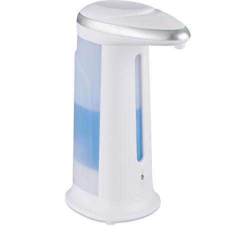 Dispensador Jabón Automático con Sensor, Dosificador Gel sin Tocar 400 ml, Aseo Cocina, Polipropileno, Blanco