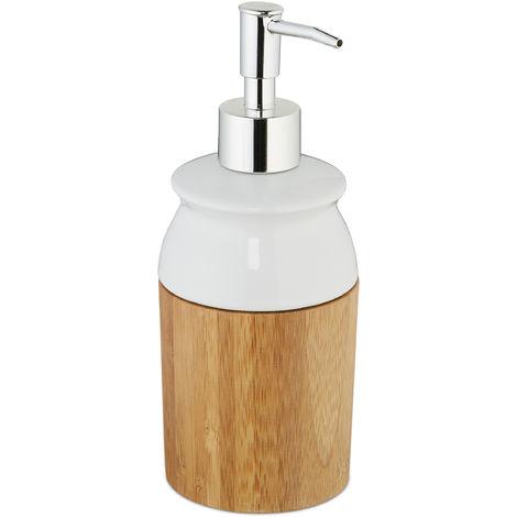 Dispensador Jabón Redondo, 225 ml, Dosificador Gel o Champú, 20,5 x 7,5 cm, Bambú y Cerámica, Marrón y Blanco