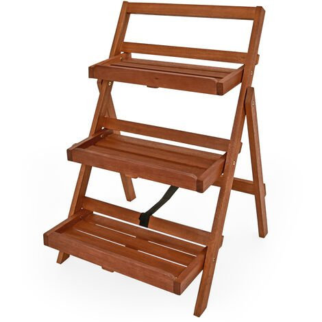 Display Shelf Plant Flower Stand FSC®-Certified Acacia Wood 3 Tier Ladder Folding